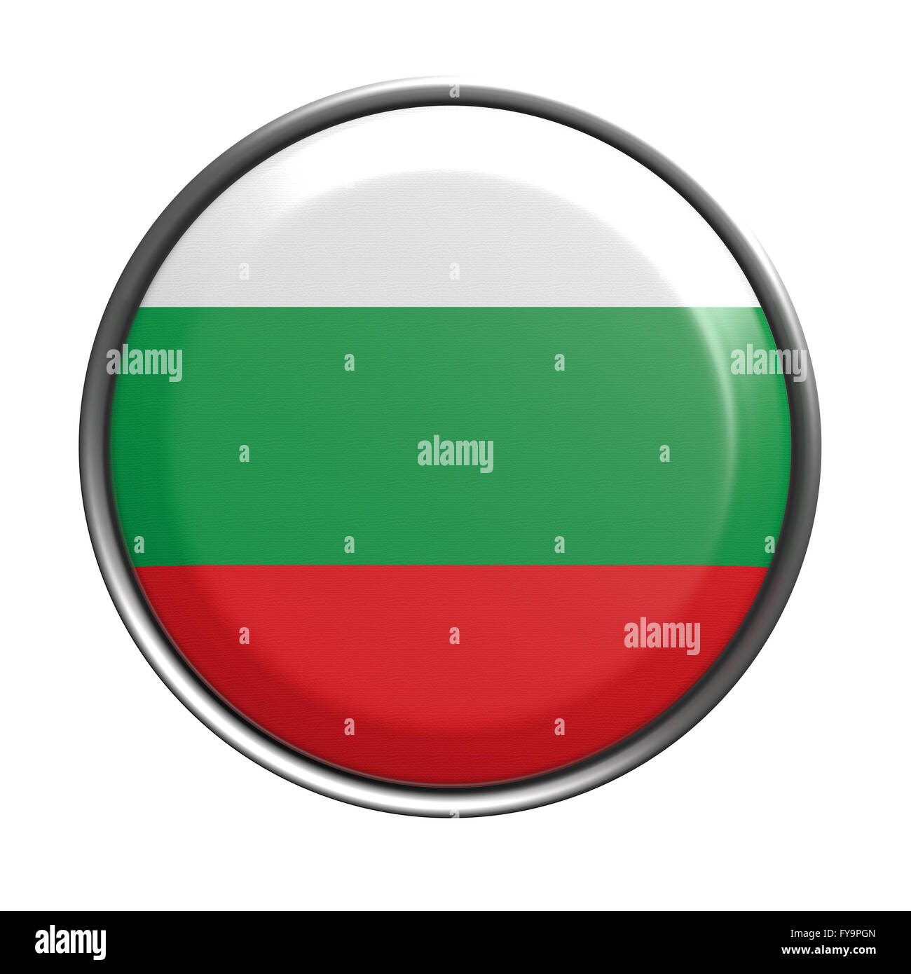 3d rendering of Bulgaria button on white background. Stock Photo