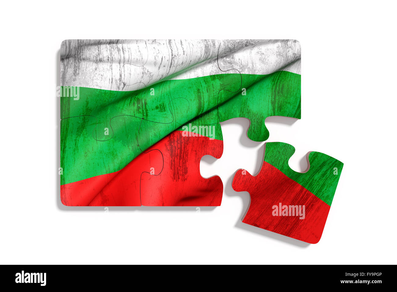 3d rendering of isolated puzzle Bulgaria flag on white background Stock Photo