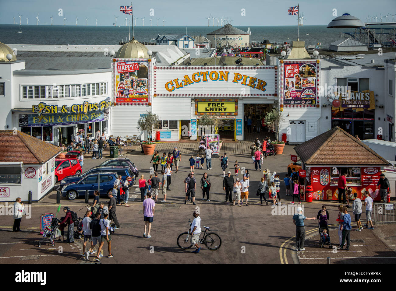 Pier on a Pier on Bank Holiday Weekend in Clacton-on-Sea, Essex, England - Stock Image
