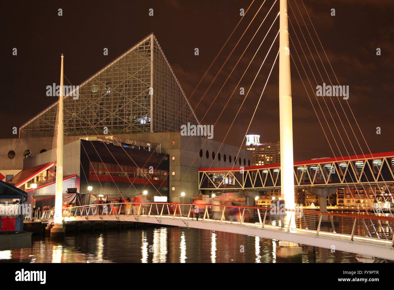 Baltimore Inner Harbor at night - Stock Image