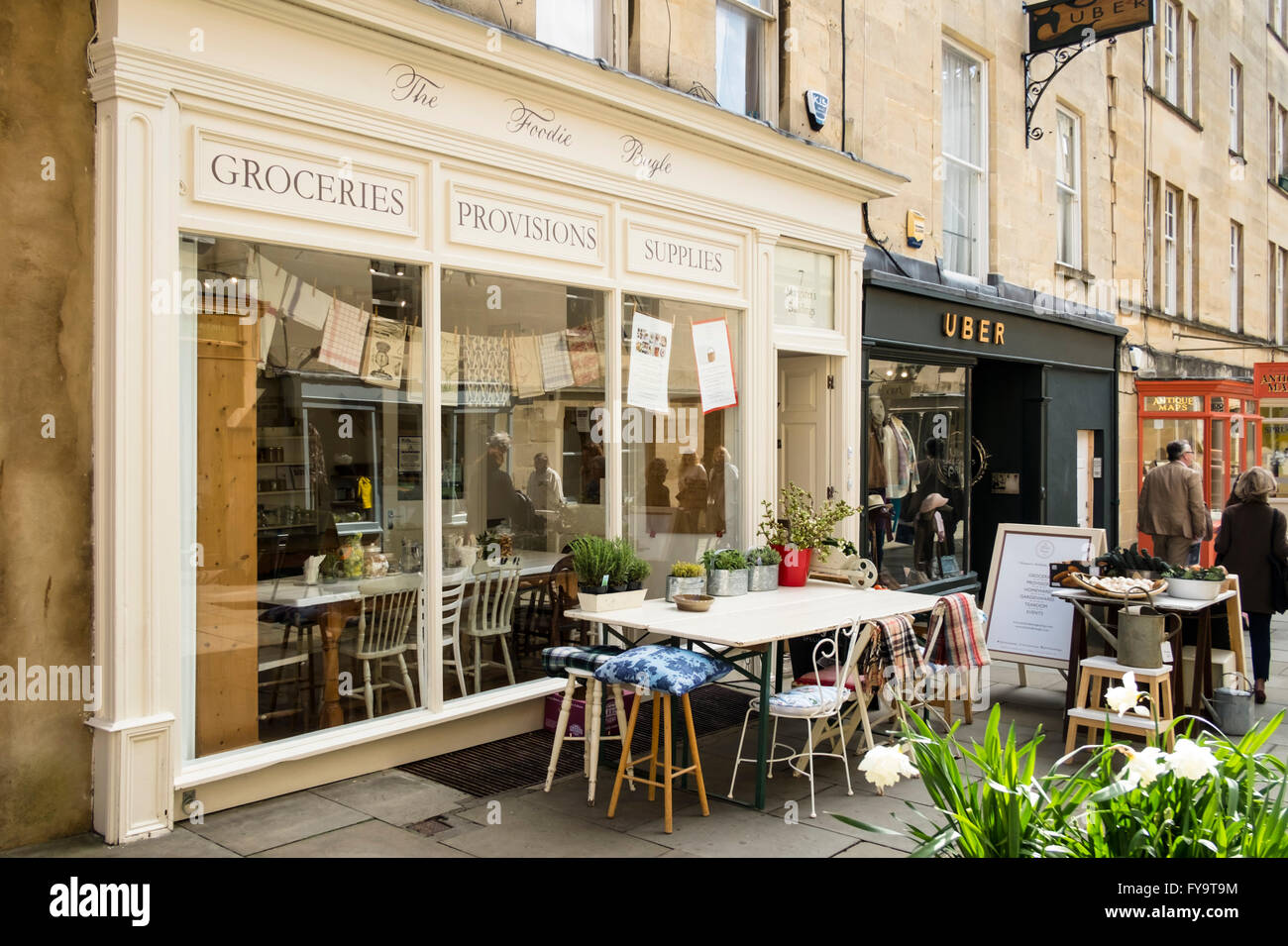 Bath Somerset England UK The Foodie Bugle Margarets buildings - Stock Image