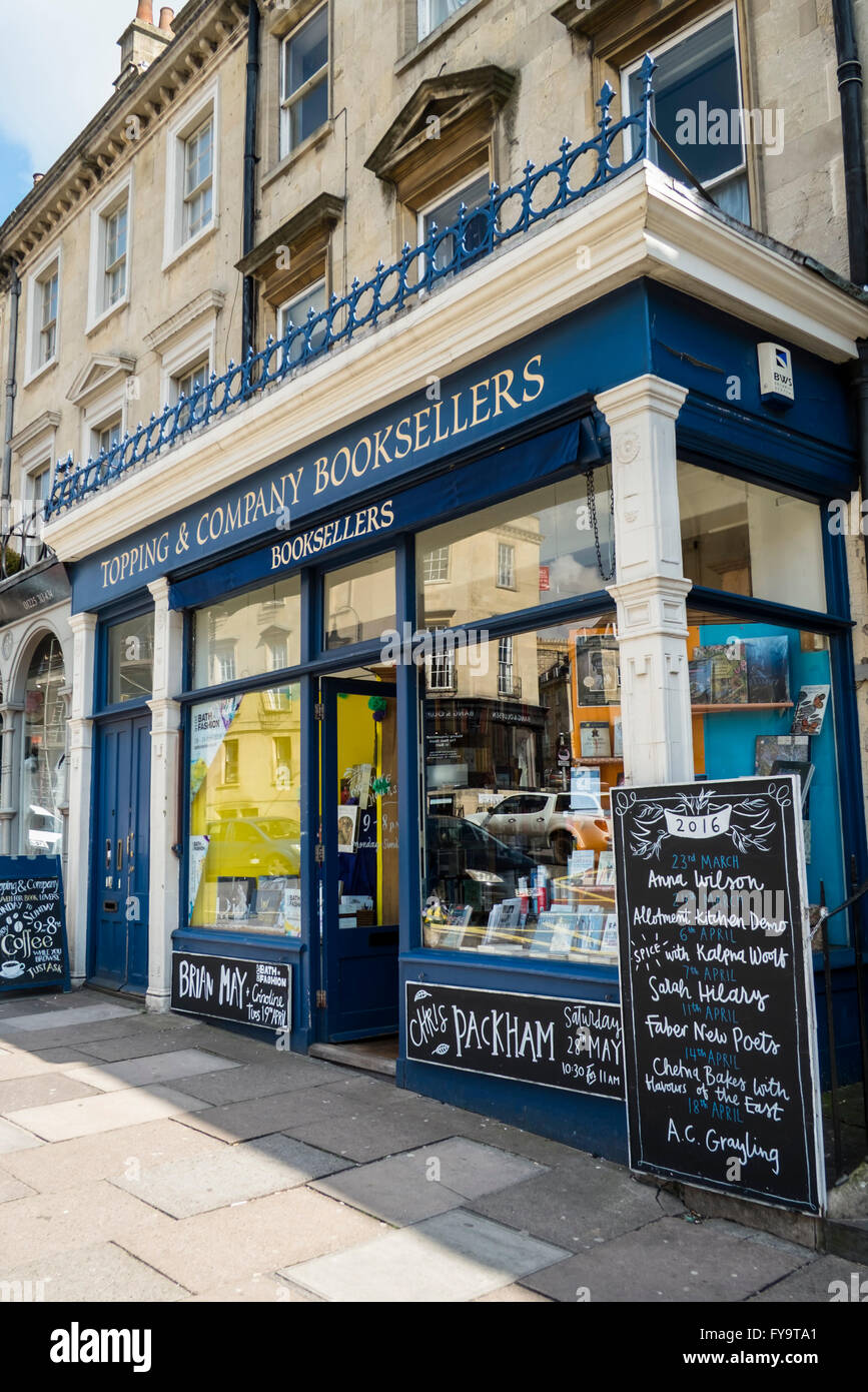 Bath Somerset England UK Topping and Co Booksellers Bookshop - Stock Image