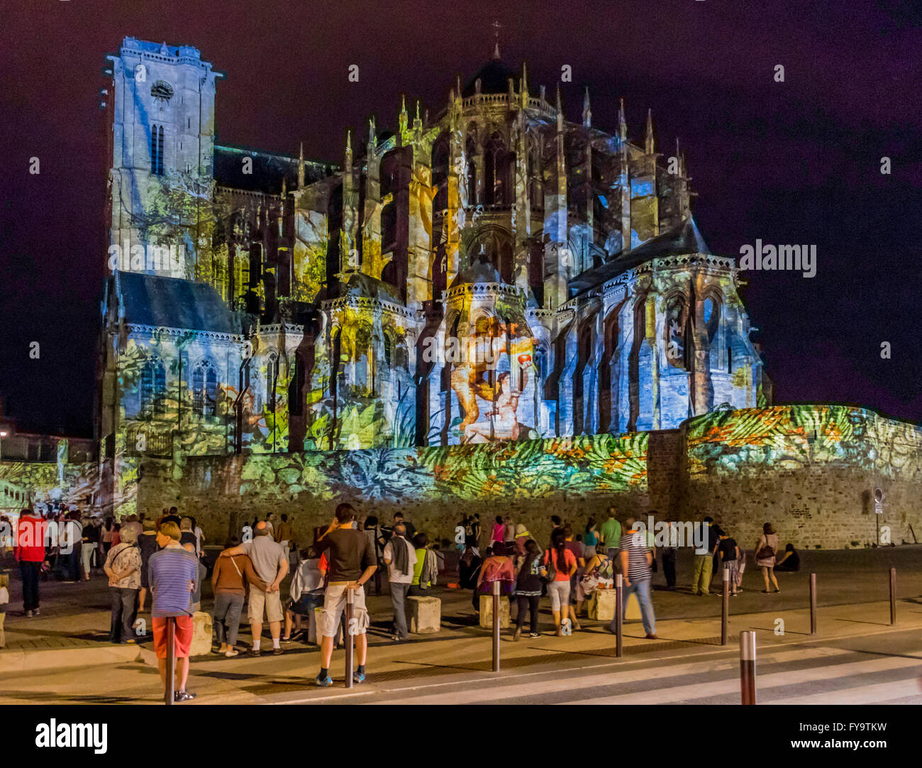 Light show on Cathedral of St Julien in Le Mans France, the Cathedral is situated in the old city of Le Mans. Stock Photo
