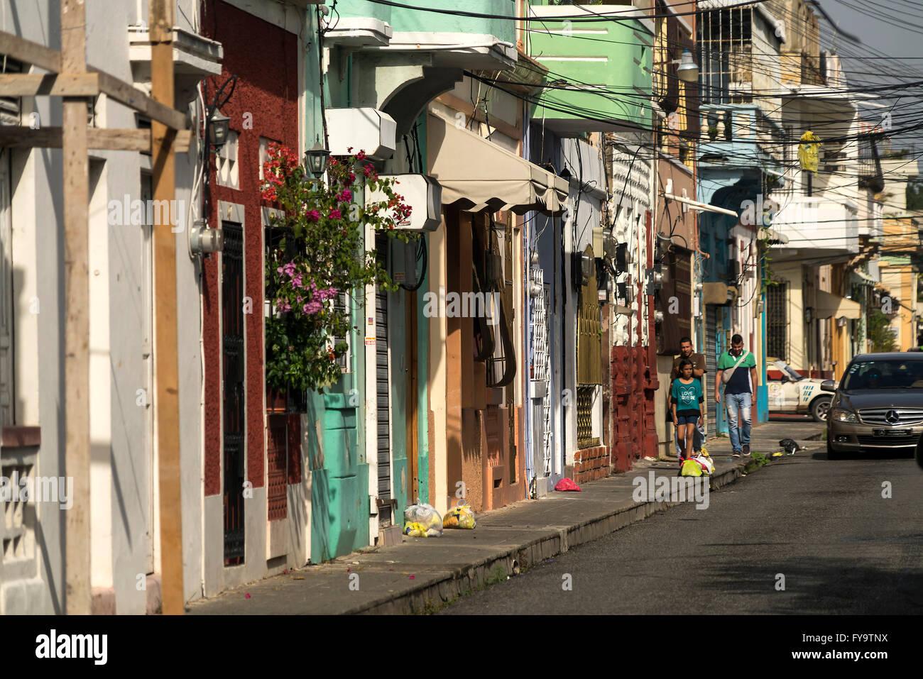typical street, Zona Colonial, capital Santo Domingo,  Dominican Republic, Carribean, America, - Stock Image