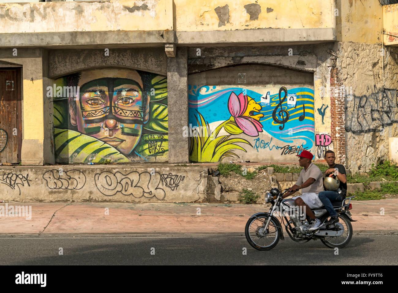 Graffiti,  Zona Colonial, capital Santo Domingo,  Dominican Republic, Carribean, America, - Stock Image