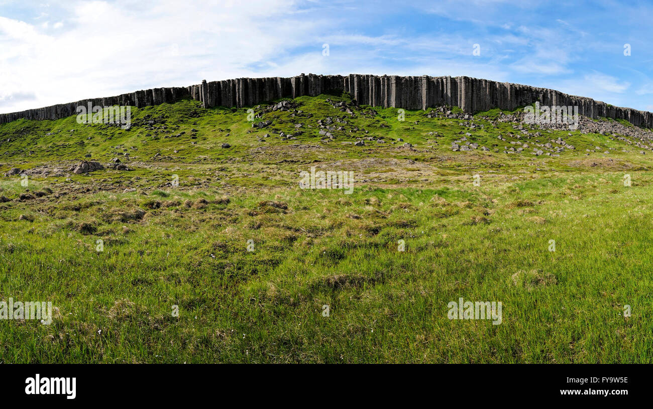 Wall of Basaltic column of Gerduberg, Snaefellsnes Peninsula, Iceland, Europe. - Stock Image