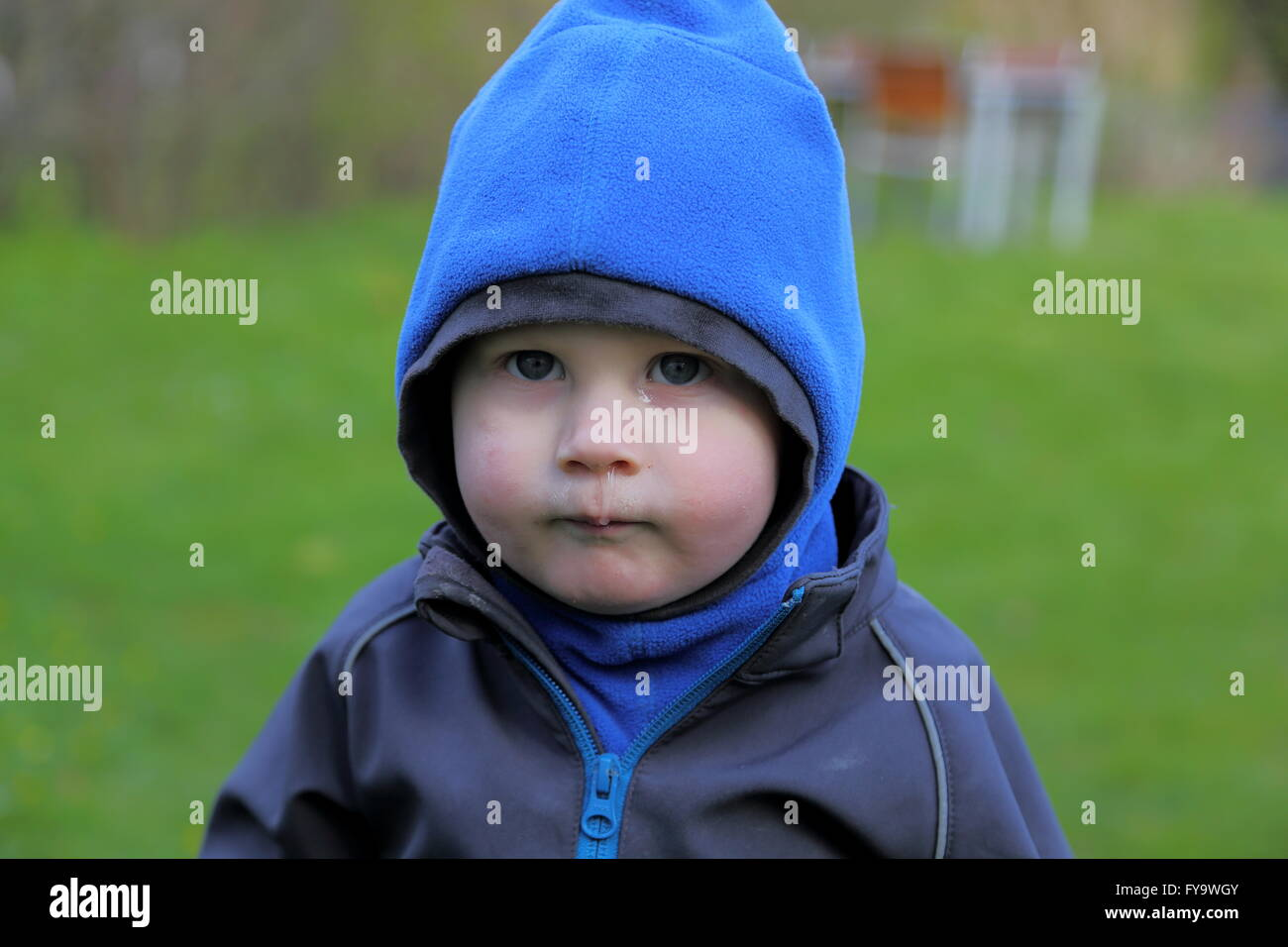 Boy, 18 months,  sprightly boy, playing in the garden, - Stock Image