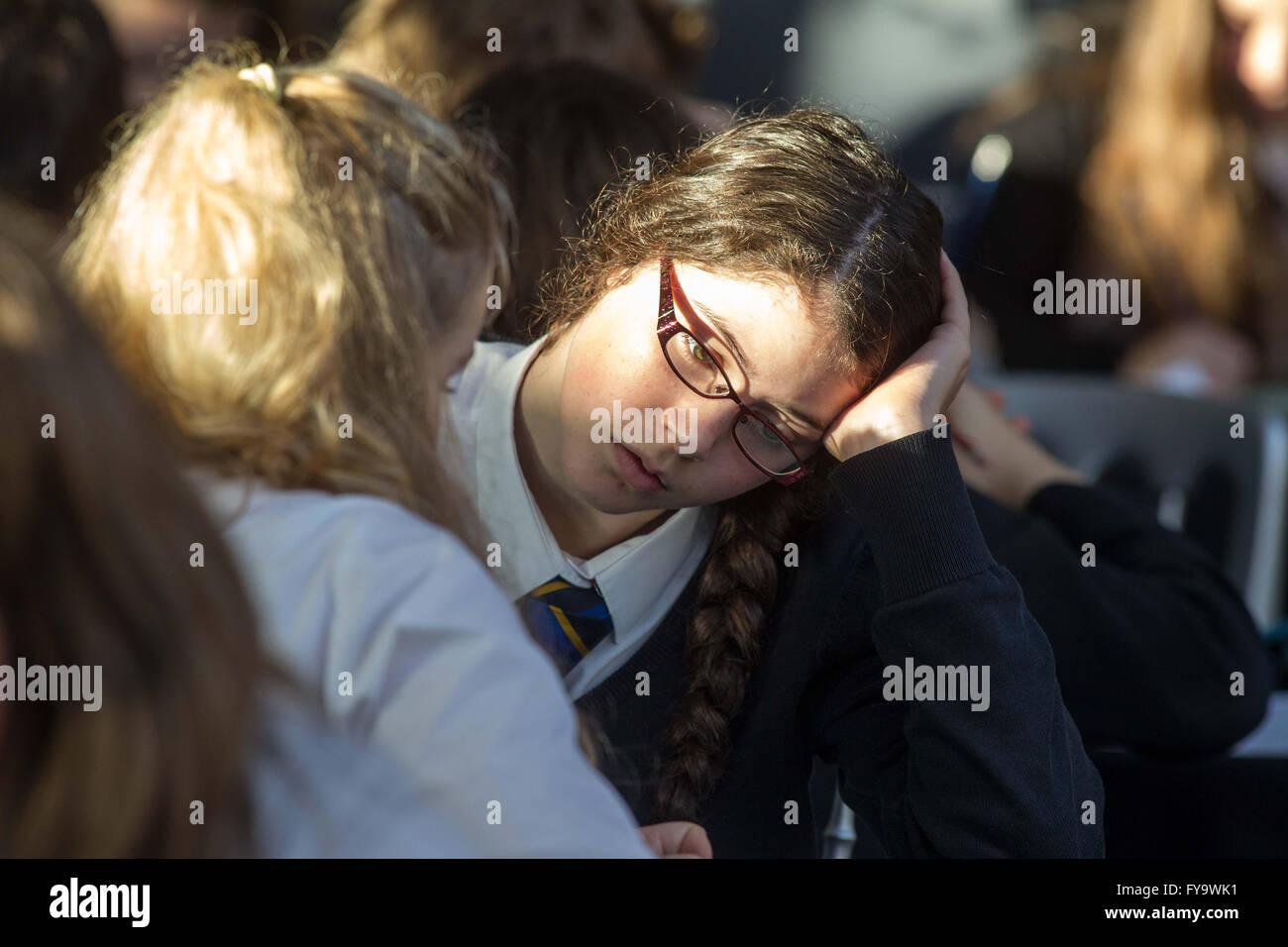 School girl studying - Stock Image