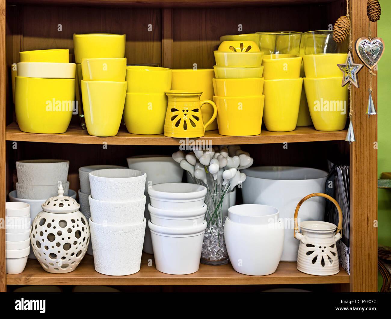 White Glazed Plant Pot Stock Photos White Glazed Plant Pot Stock