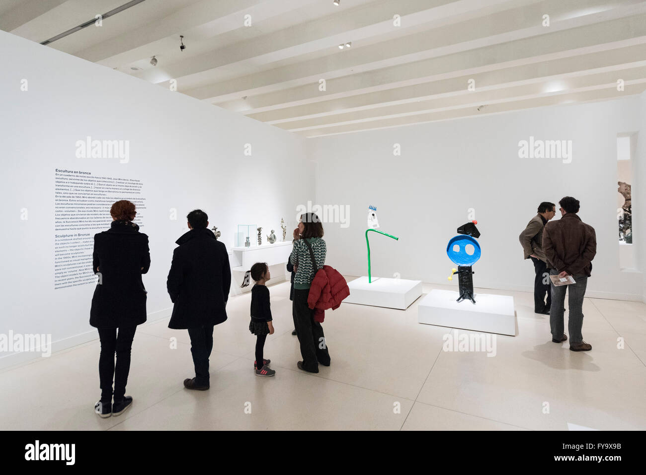 Madrid. Spain. CaixaForum Madrid, visitors at a Joan Miró exhibition. - Stock Image