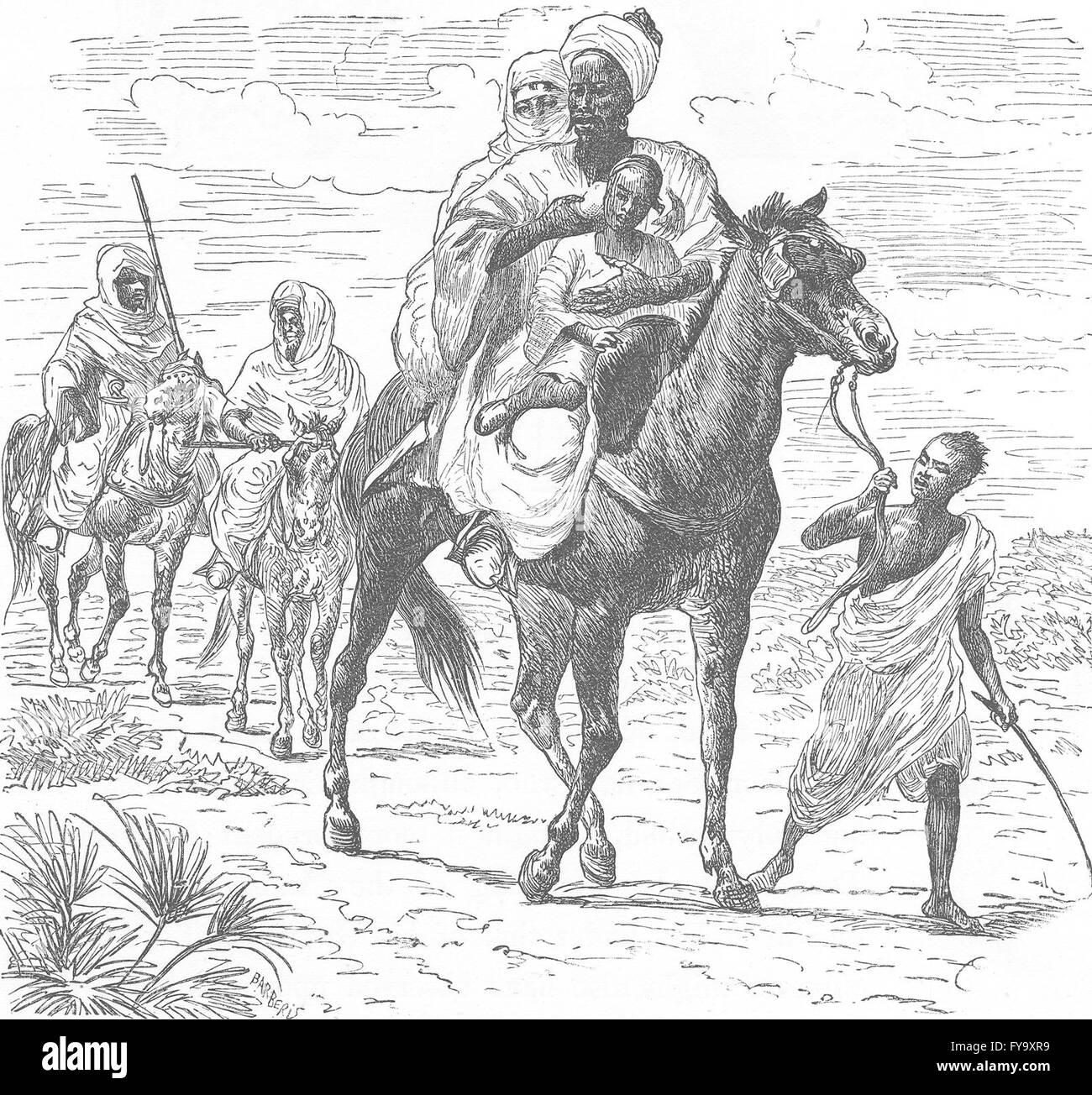 MOROCCO: Merchants of Meknes, antique print 1882 - Stock Image