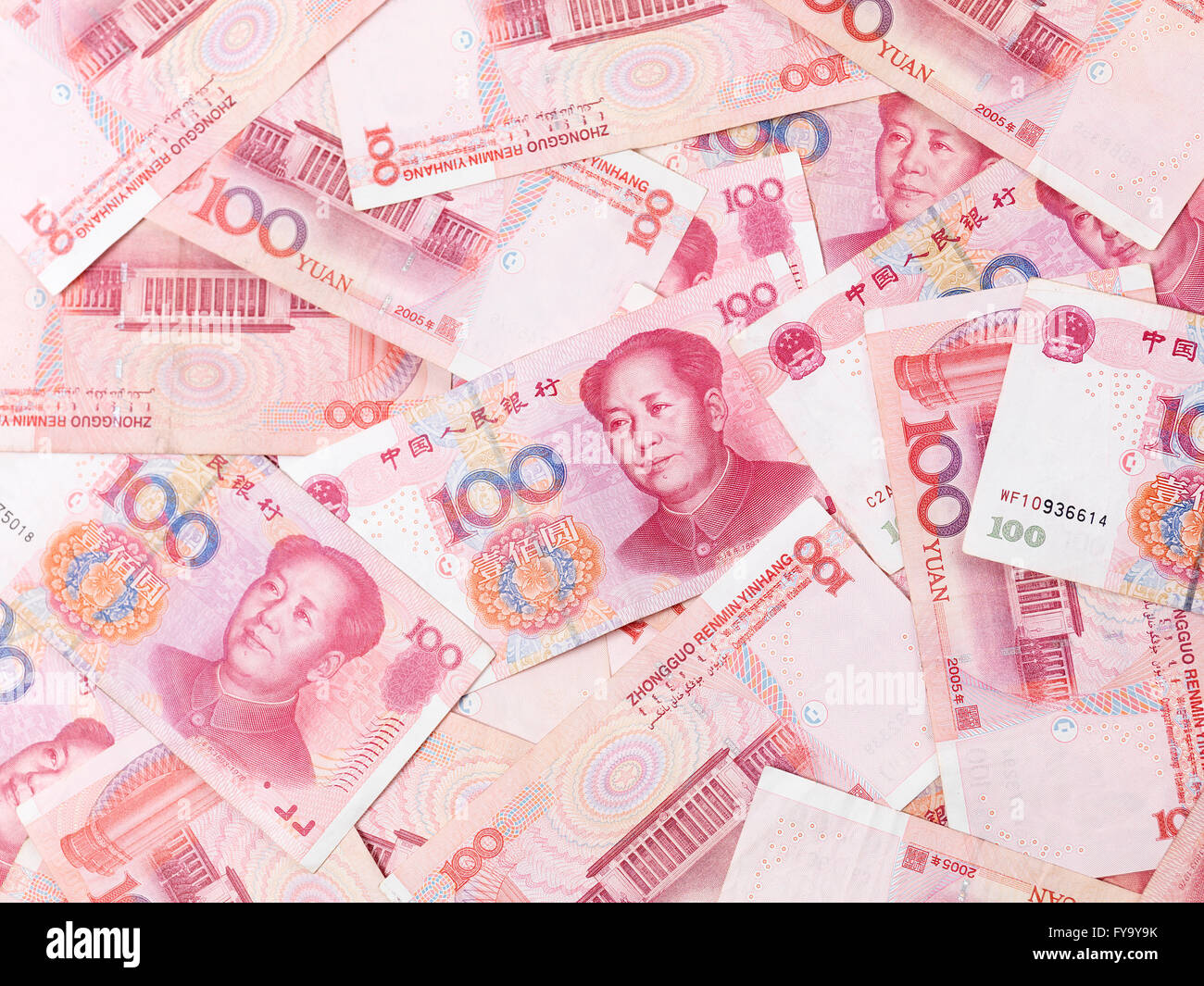 Renminbi bills, official currency of the People's Republic of China - Stock Image