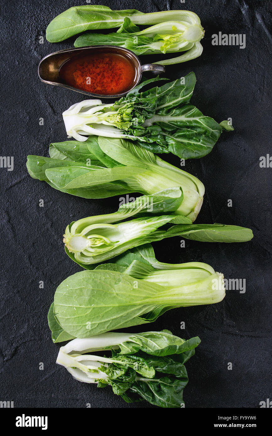 Assortment of raw bok choy - Stock Image