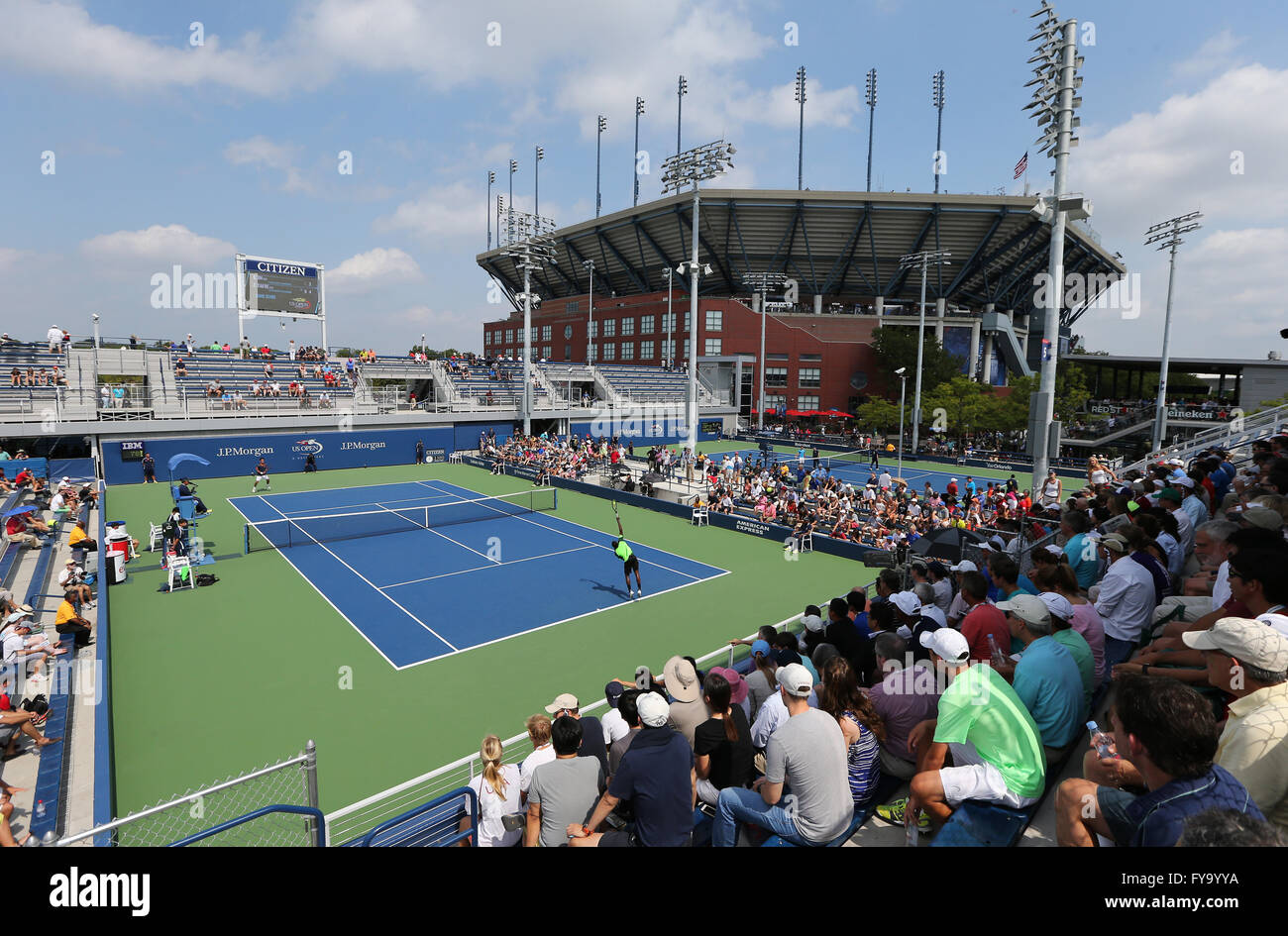Outdoor courts and the Arthur Ashe Stadium, US Open in 2014, ITF Grand Slam Tennis Tournament, USTA Billie Jean - Stock Image