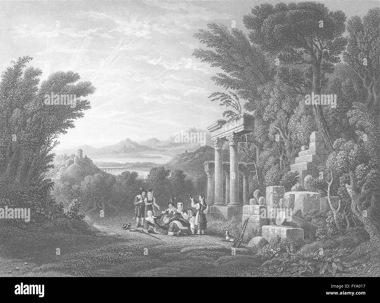SOCIETY: Evening(Composition), antique print 1836 Stock Photo