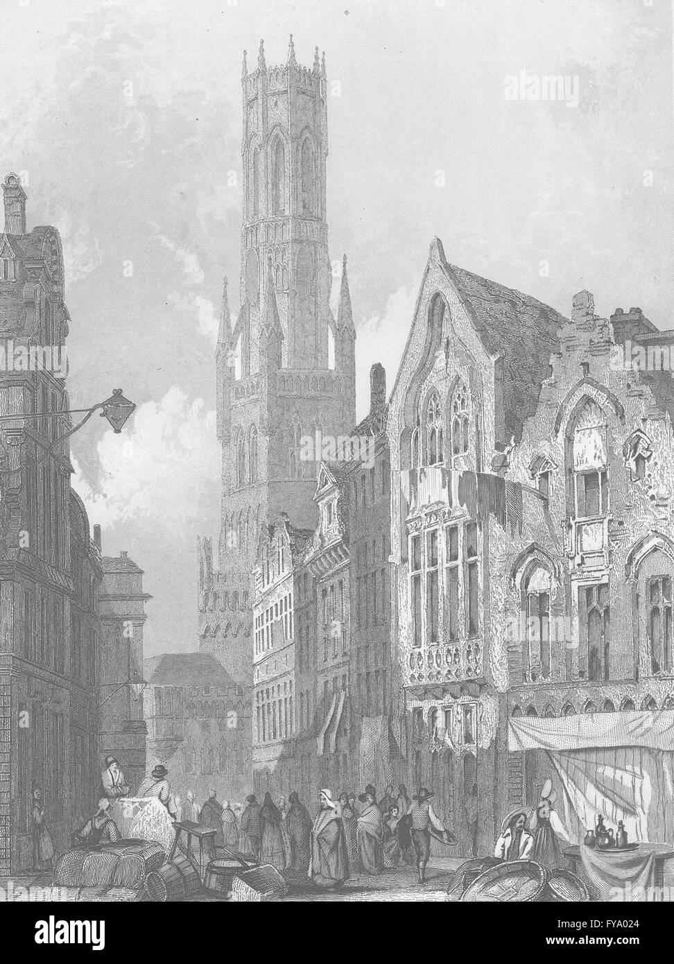 BELGIUM: Brugge, antique print 1836 Stock Photo