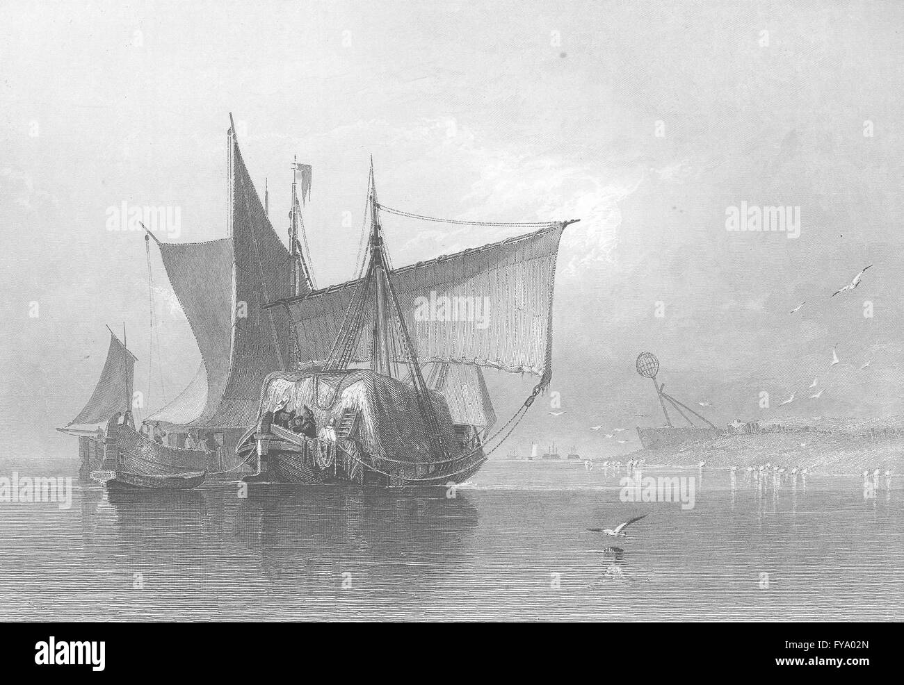 NORFOLK: Boats, Yarmouth, antique print 1836 - Stock Image