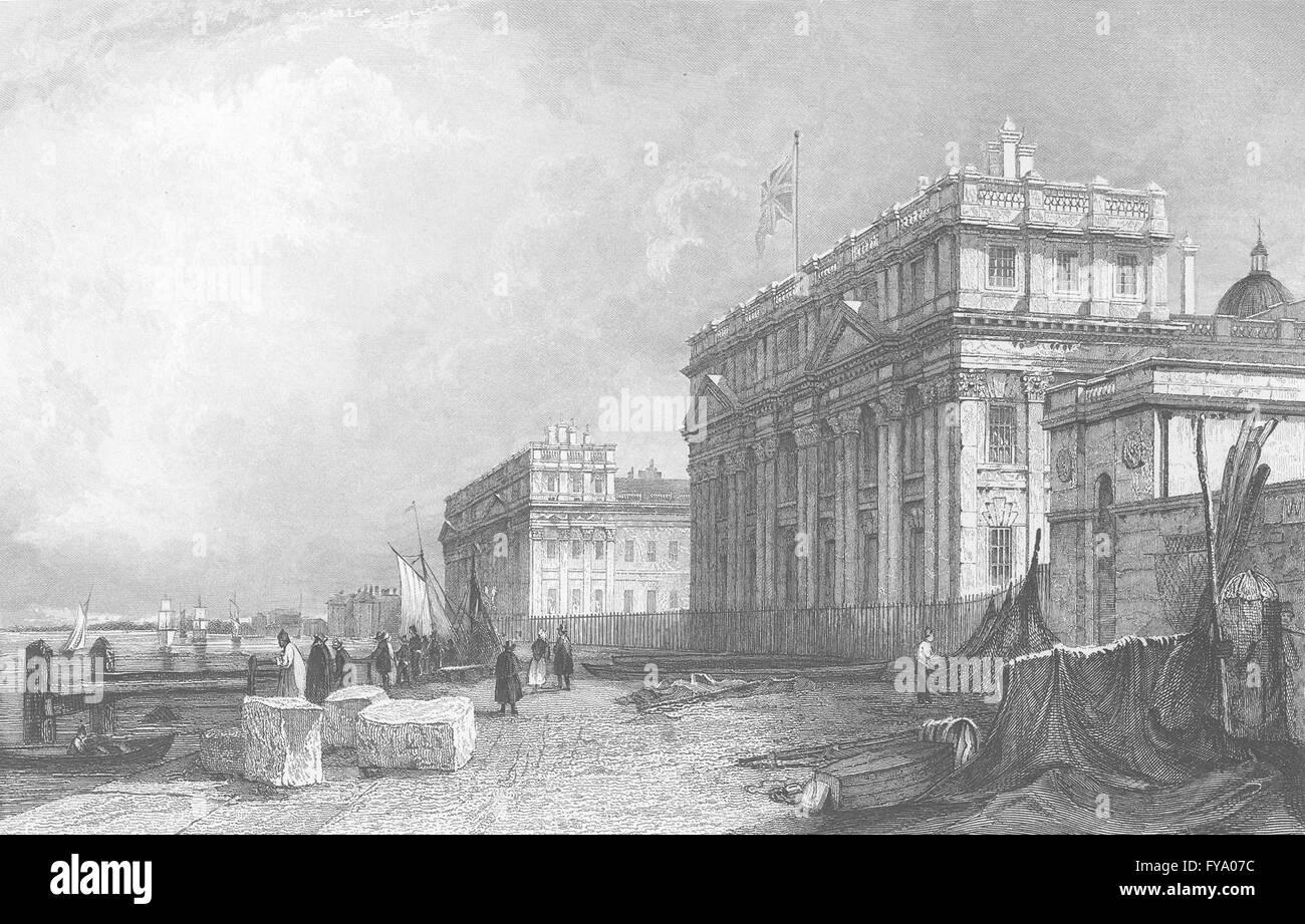 LONDON: Greenwich Hospital, antique print 1836 - Stock Image