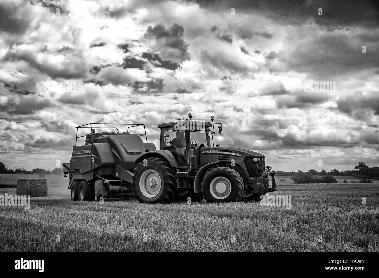 Farm, farming, countryside, Combine, Tractor, - Stock Image
