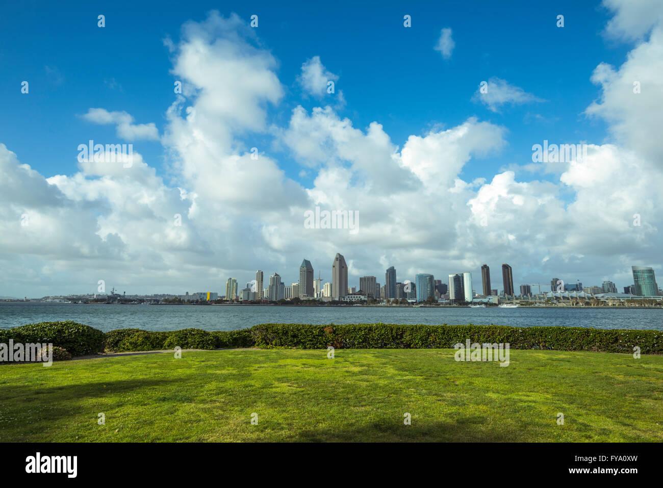 San Diego Harbor and Skyline. View from Coronado, California, USA. Stock Photo