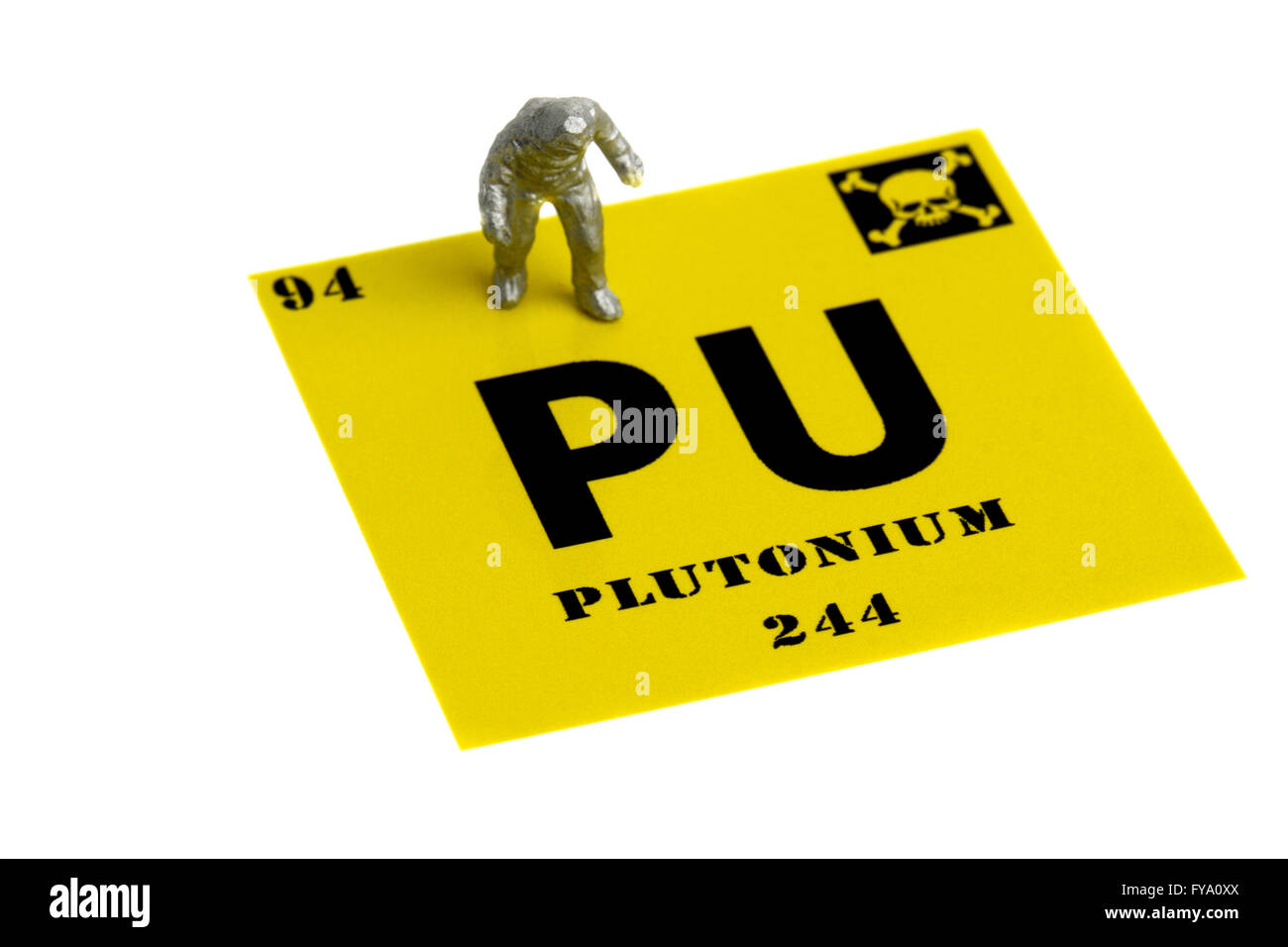 Plutonium symbol miniature man chemical suit - Stock Image