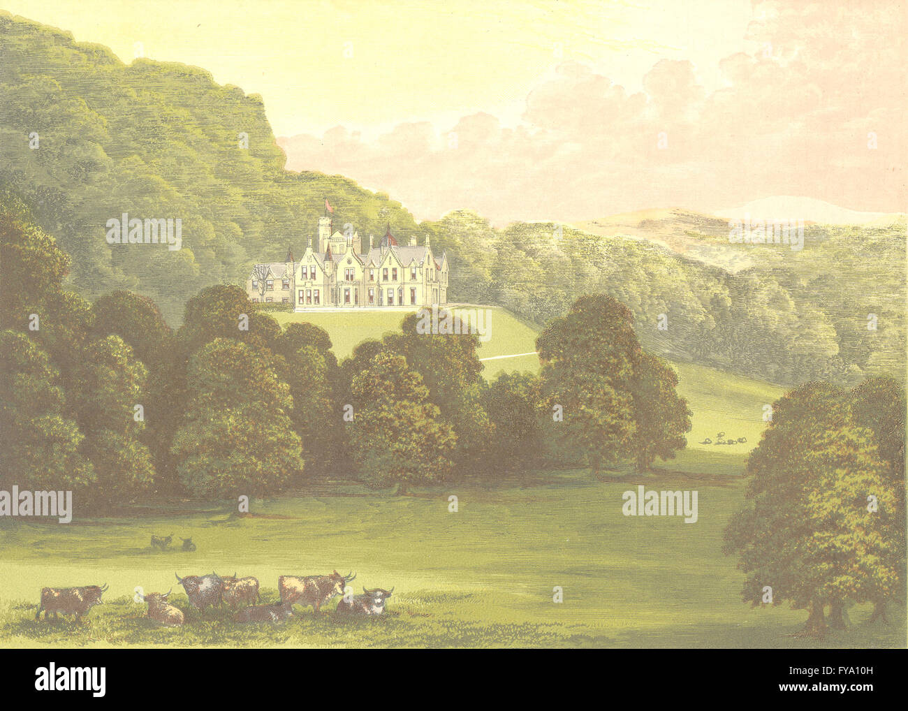 PHILIPHAUGH, Selkirk, Selkirkshire (Murray, Baronet), antique print 1891 - Stock Image
