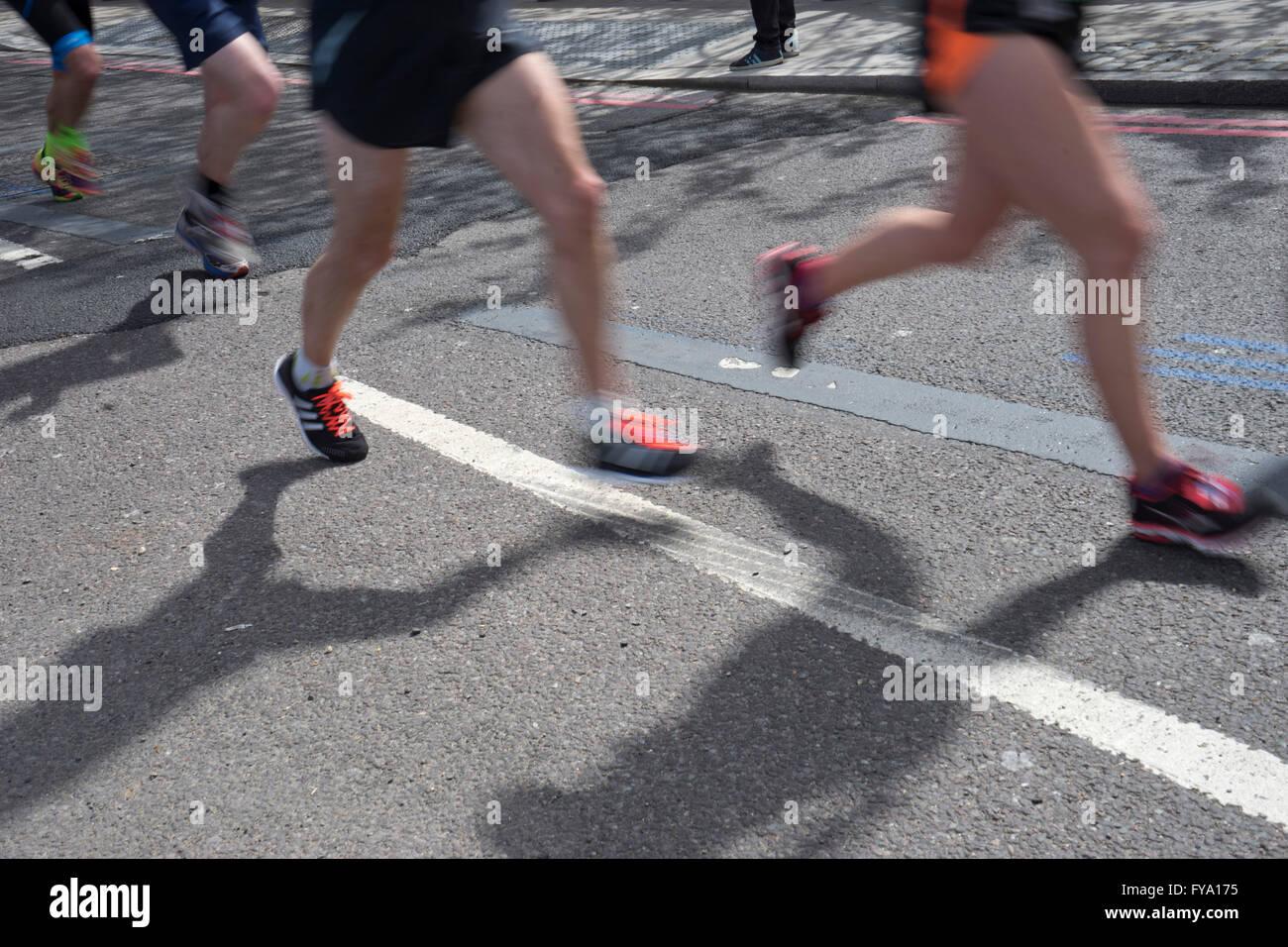 Runners near Tower Bridge at the 2016 London Marathon. UK - Stock Image