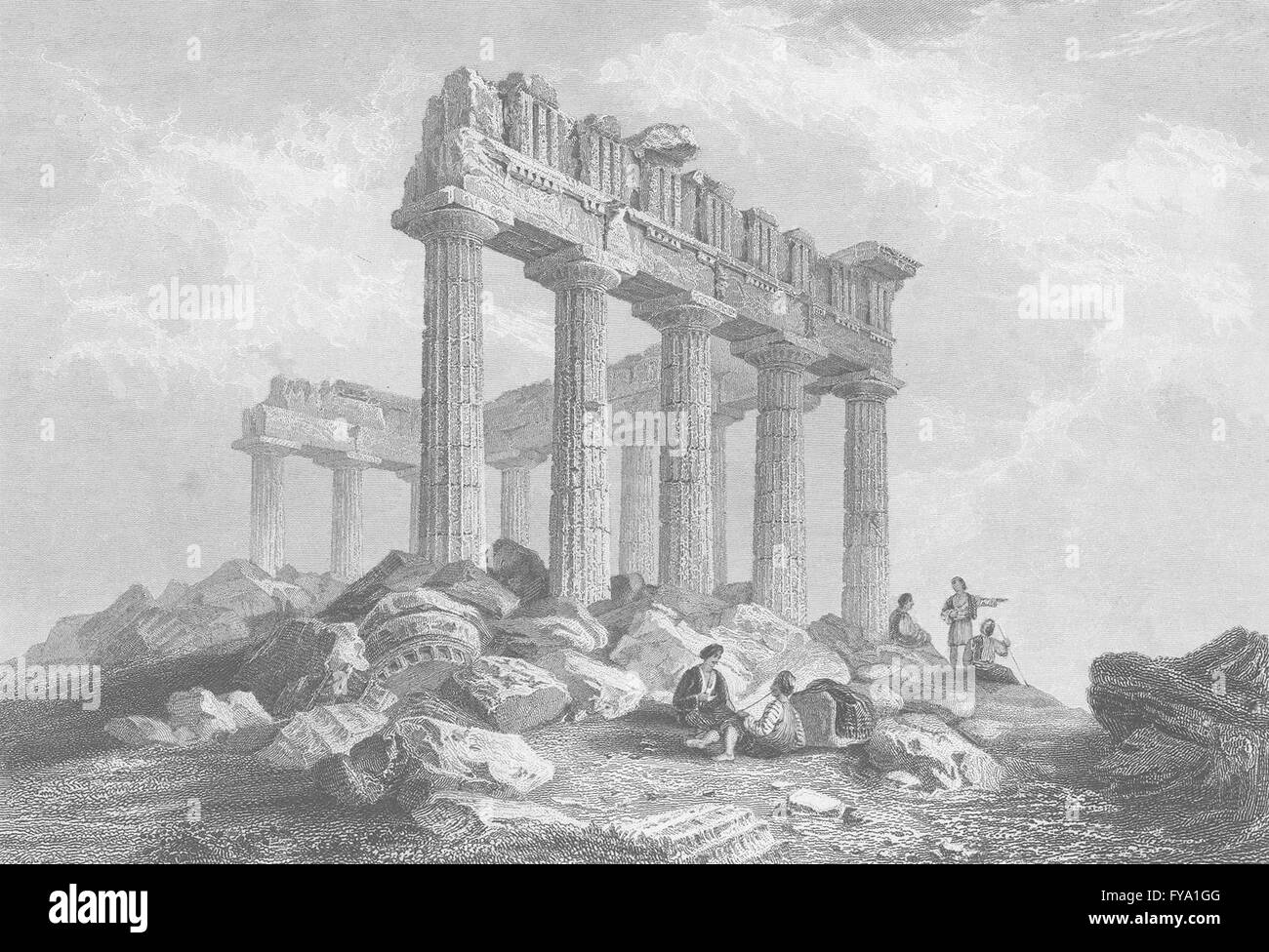GREECE: The Parthenon ; Finden, antique print 1834 - Stock Image