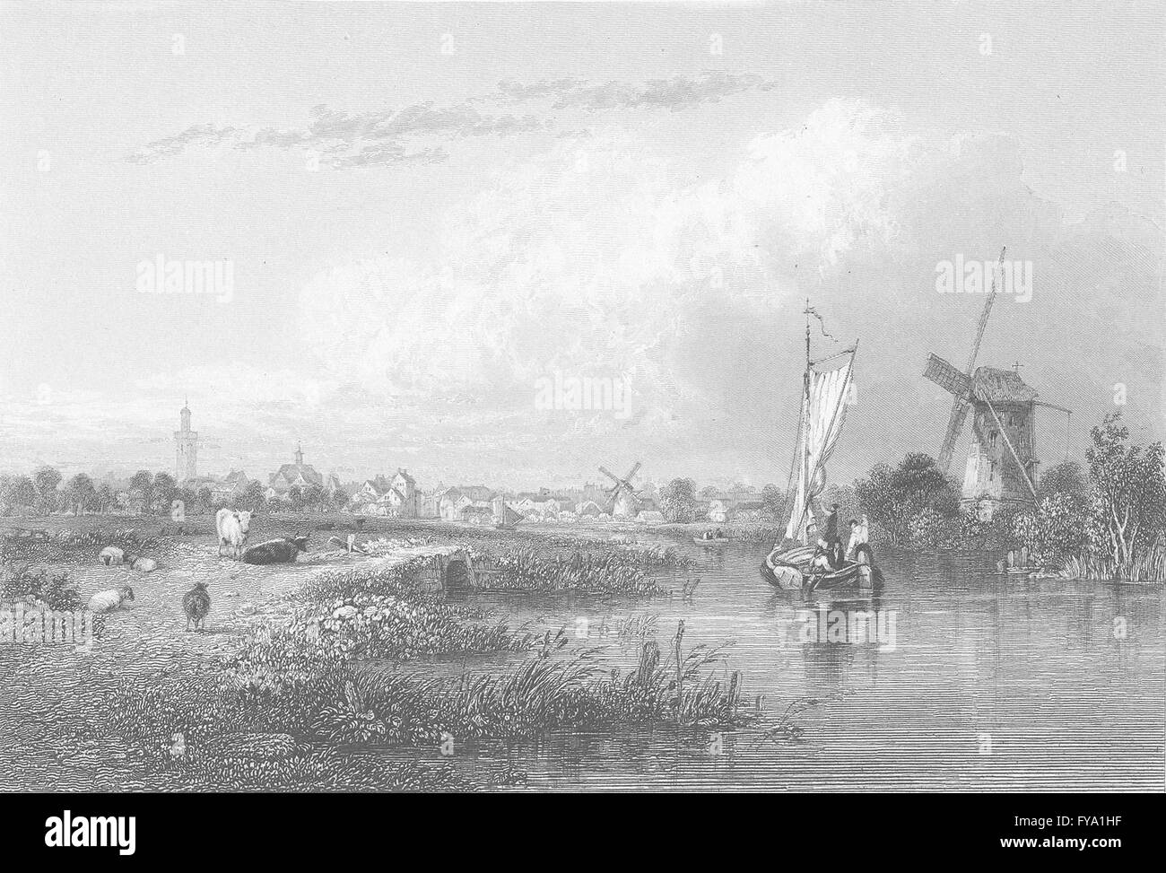 NETHERLANDS: The Hague ; Finden, antique print 1834 - Stock Image