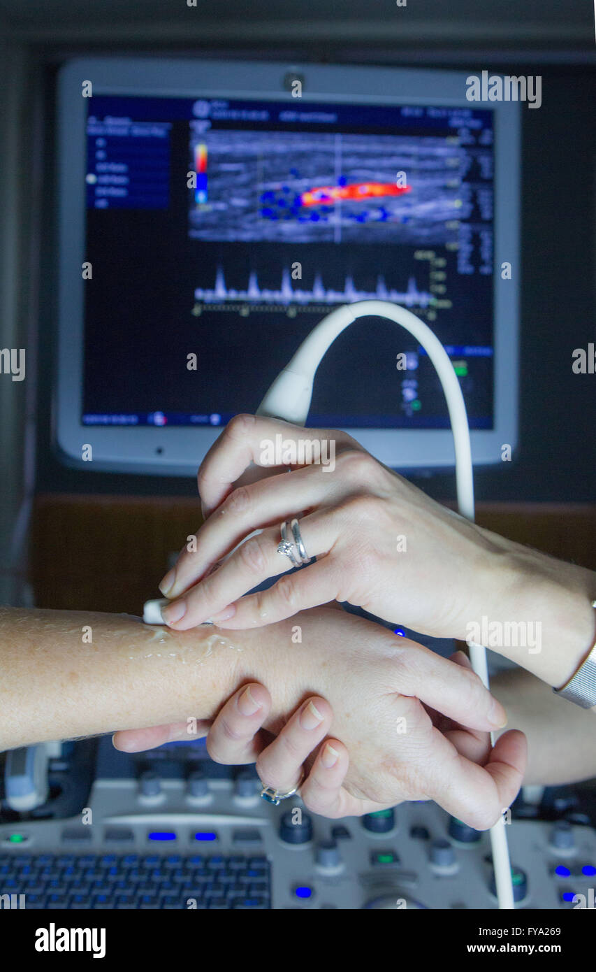 Ultrasound  examination of wrist - Stock Image