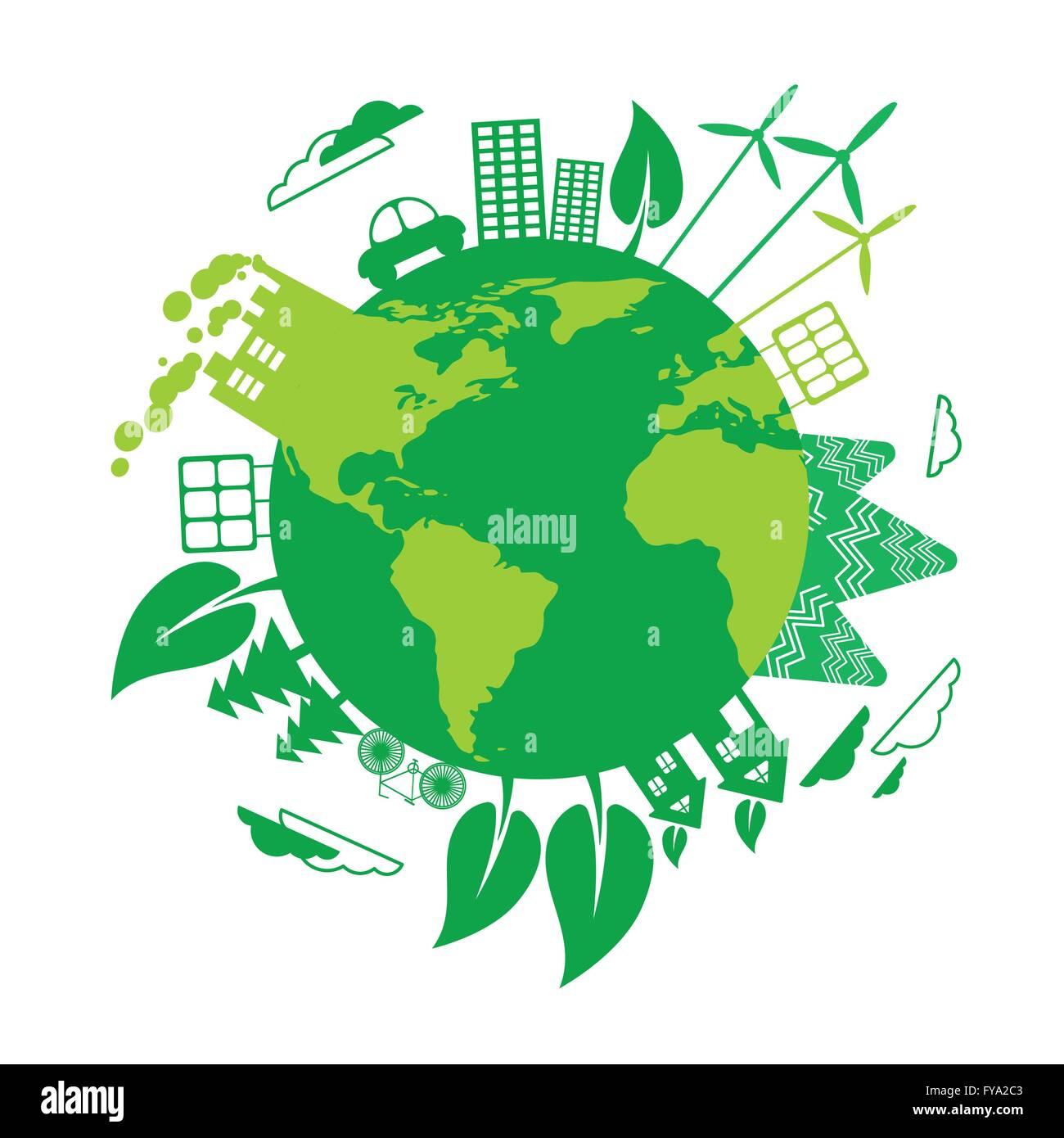 Green Earth Eco Globe Wind Turbine Solar Energy Panel Stock Vector