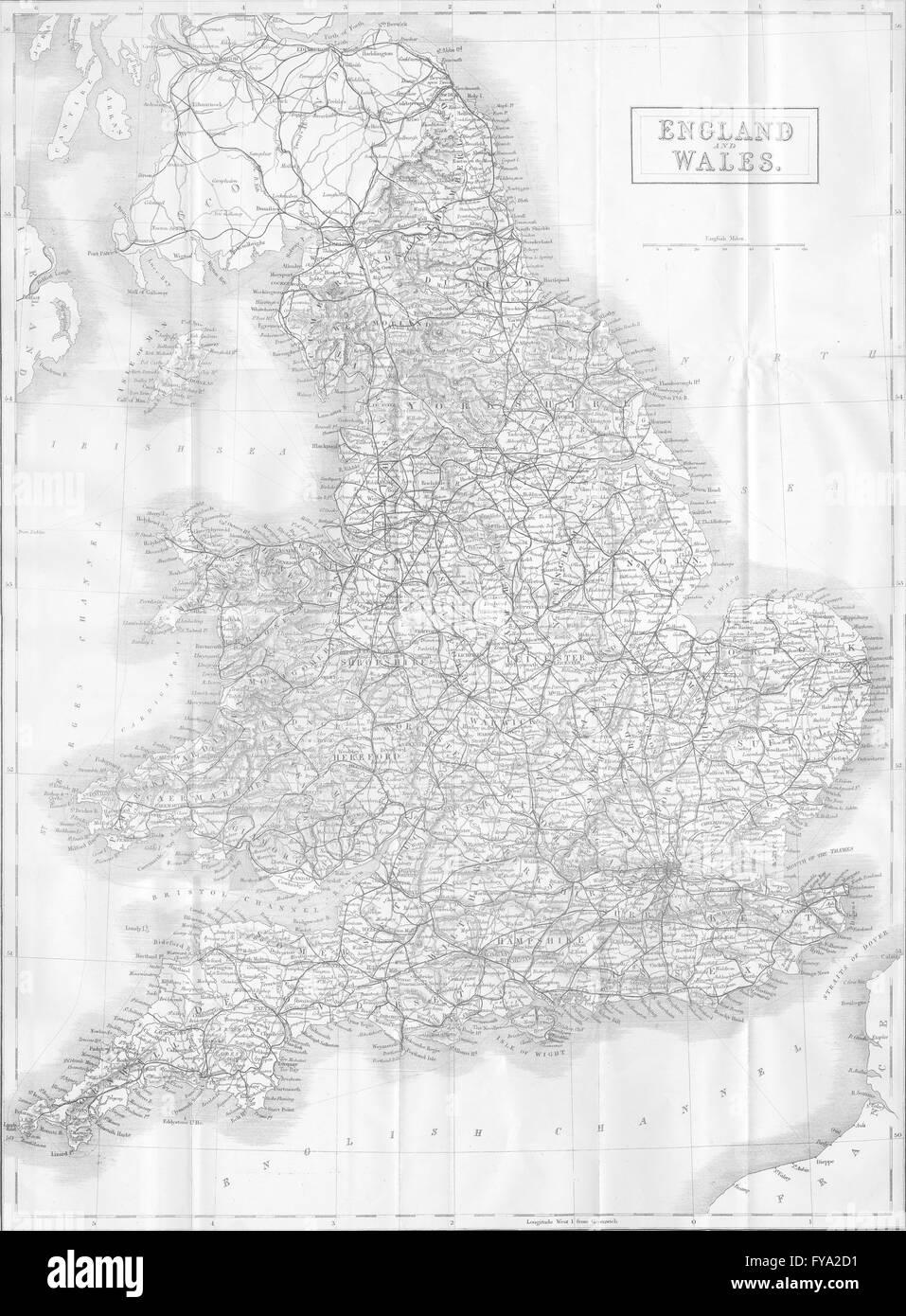 ENGLAND: Map of England, 1874 - Stock Image