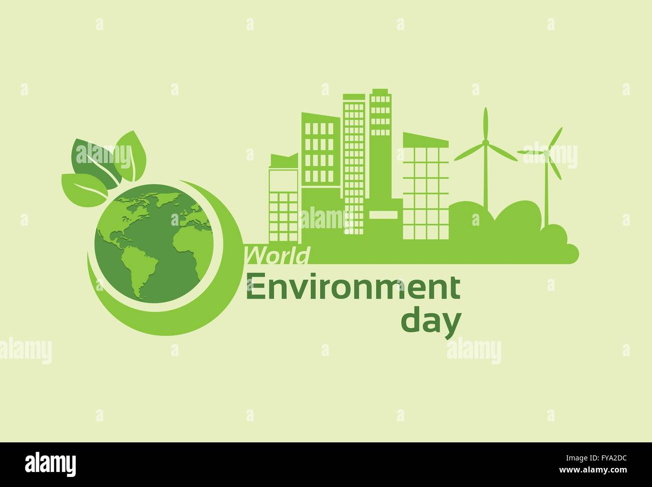 Green City Earth Planet Globe Silhouette Wind Turbine