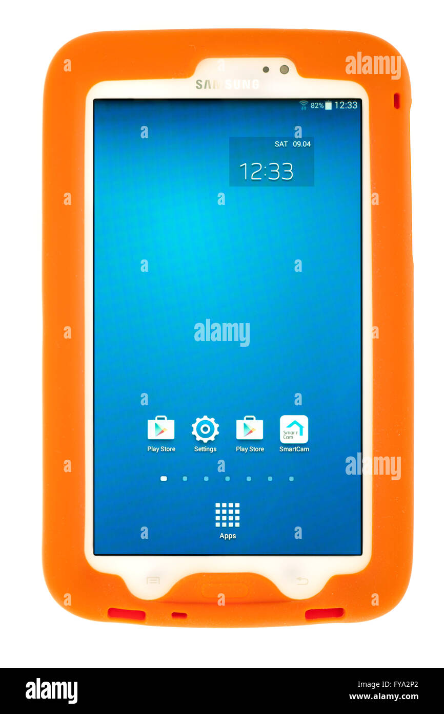 Samsung Galaxy Tab3 tablet SM-210 in a Bobj protective silicone rugged case - Stock Image