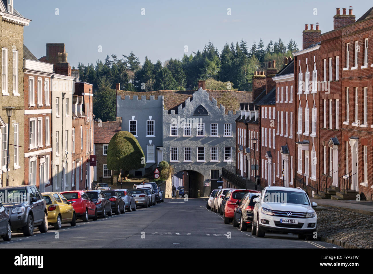 Ludlow, Shropshire, UK. The medieval Broad Gate (Broadgate) at the bottom of Broad Street was completed about 1270 - Stock Image