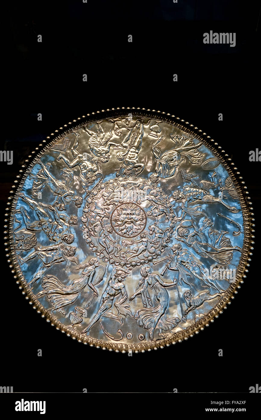The British Museum, London, UK. The Great Dish from the Mildenhall Treasure, discovered in 1942. - Stock Image