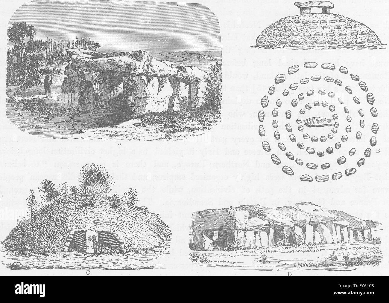 PREHISTORIC: Monuments of the Neolithic Age, antique print 1893 ...
