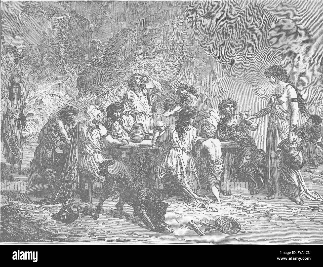 BRONZE AGE: Feast in the Bronze Age, antique print 1893 Stock Photo ...