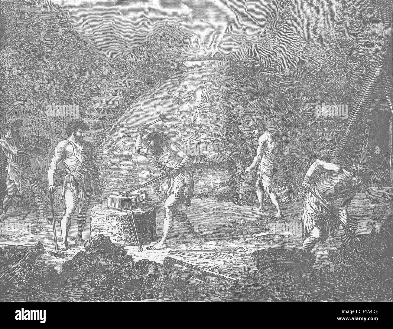 IRON AGE: Primitive furnace for smelting iron, antique print 1893 - Stock Image