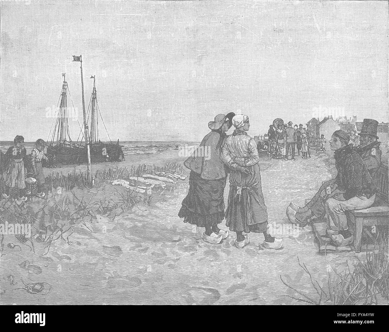 NETHERLANDS: Scheveningen-Dutch seaside resort near The Hague, old print 1894 - Stock Image