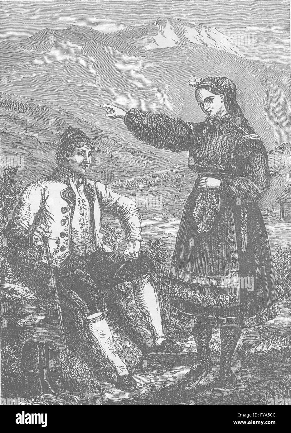 NORWAY: Costumes of Telemarken (Norway) , antique print 1894 - Stock Image