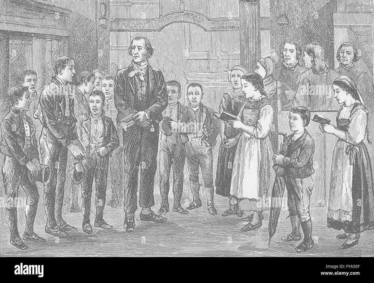 NORWAY: Norwegian Sunday-School, antique print 1894 - Stock Image
