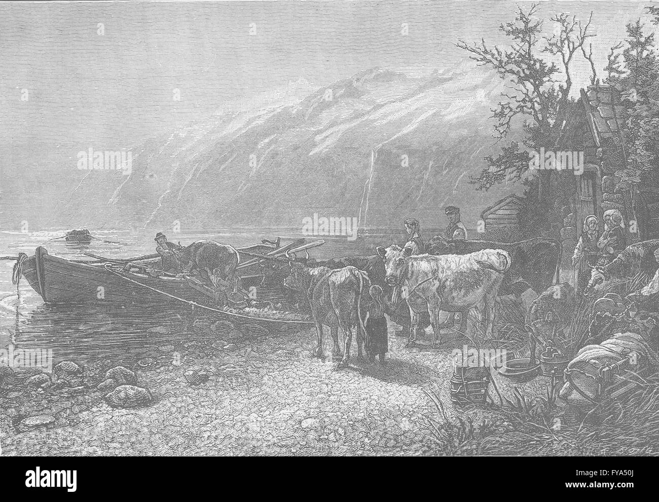 NORWAY: Ferry at a Norwegian Fjord, antique print 1894 - Stock Image