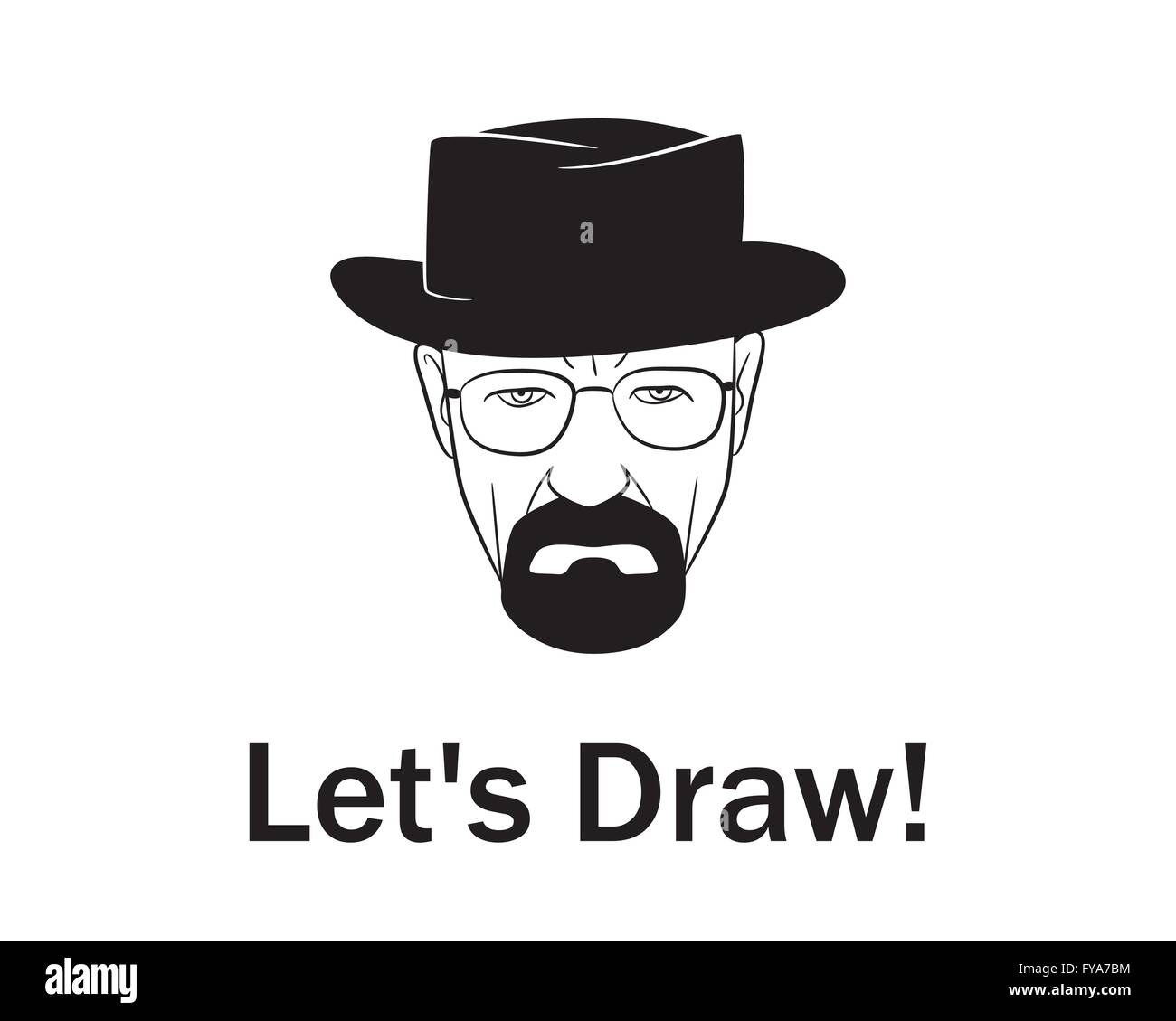 Let's draw man in a hat with beard.Vector illustration. EPS 10. No transparency. No gradients. - Stock Image
