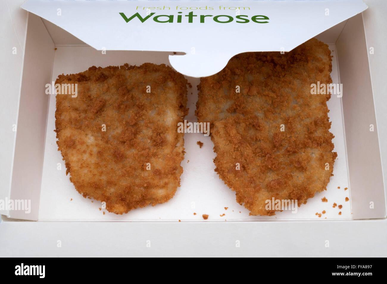 Waitrose fresh Cod breaded fish Stock Photo