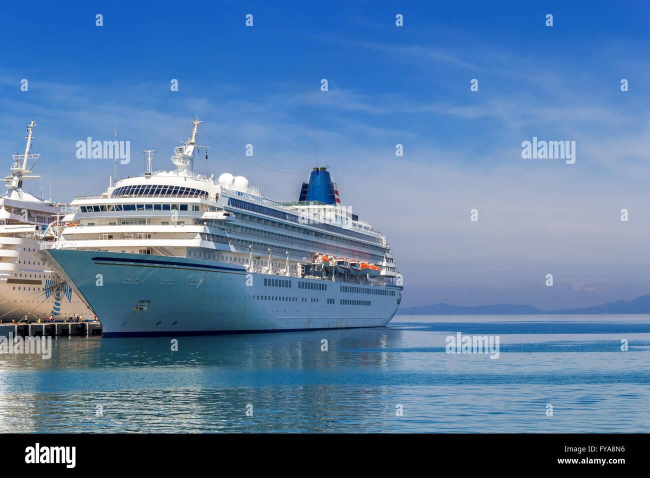 big passenger ship in hot summer day - Stock Image