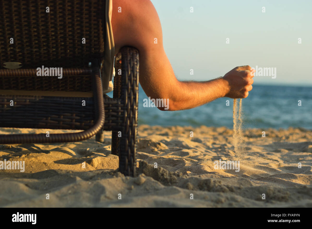 relaxation lounges on the beach - Stock Image