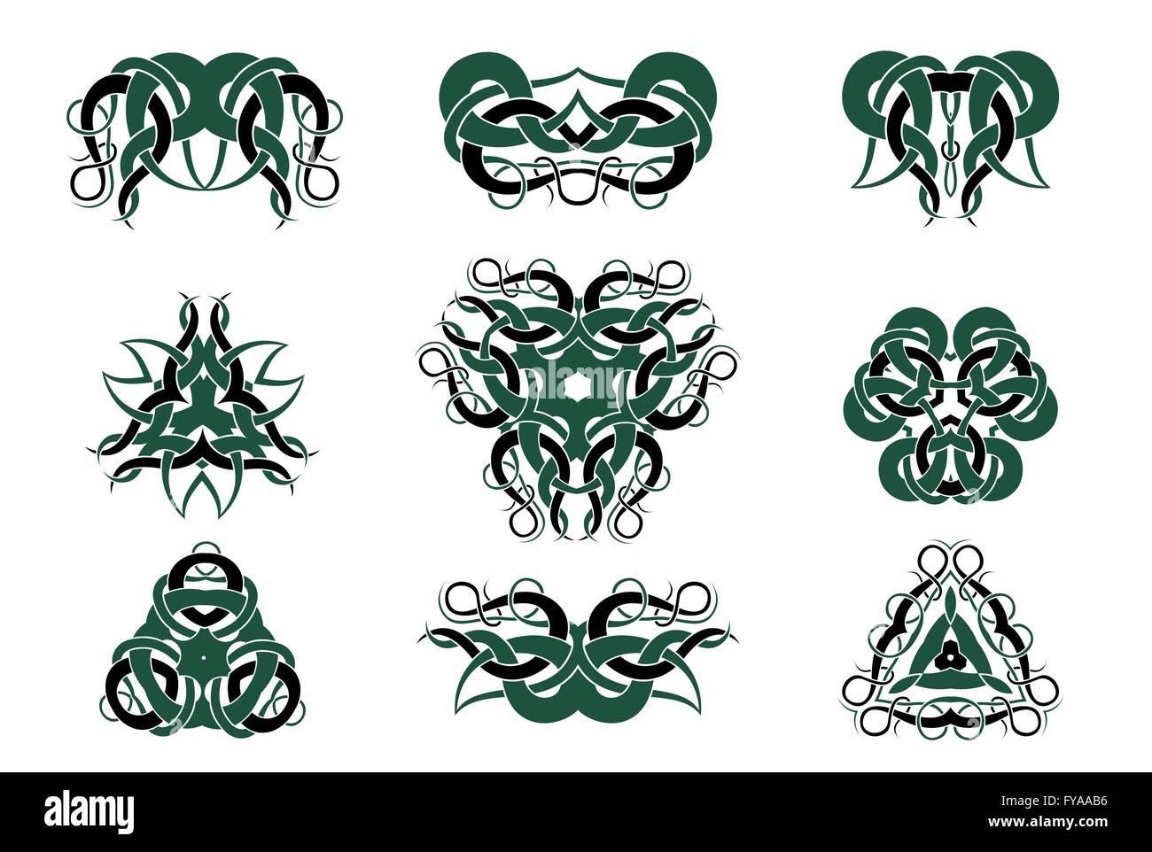 Celtic Knotwork Tattoo Art, Circular Mandalas, Floral Pattern And Baroque  Retro Ornaments Vector Design Set.