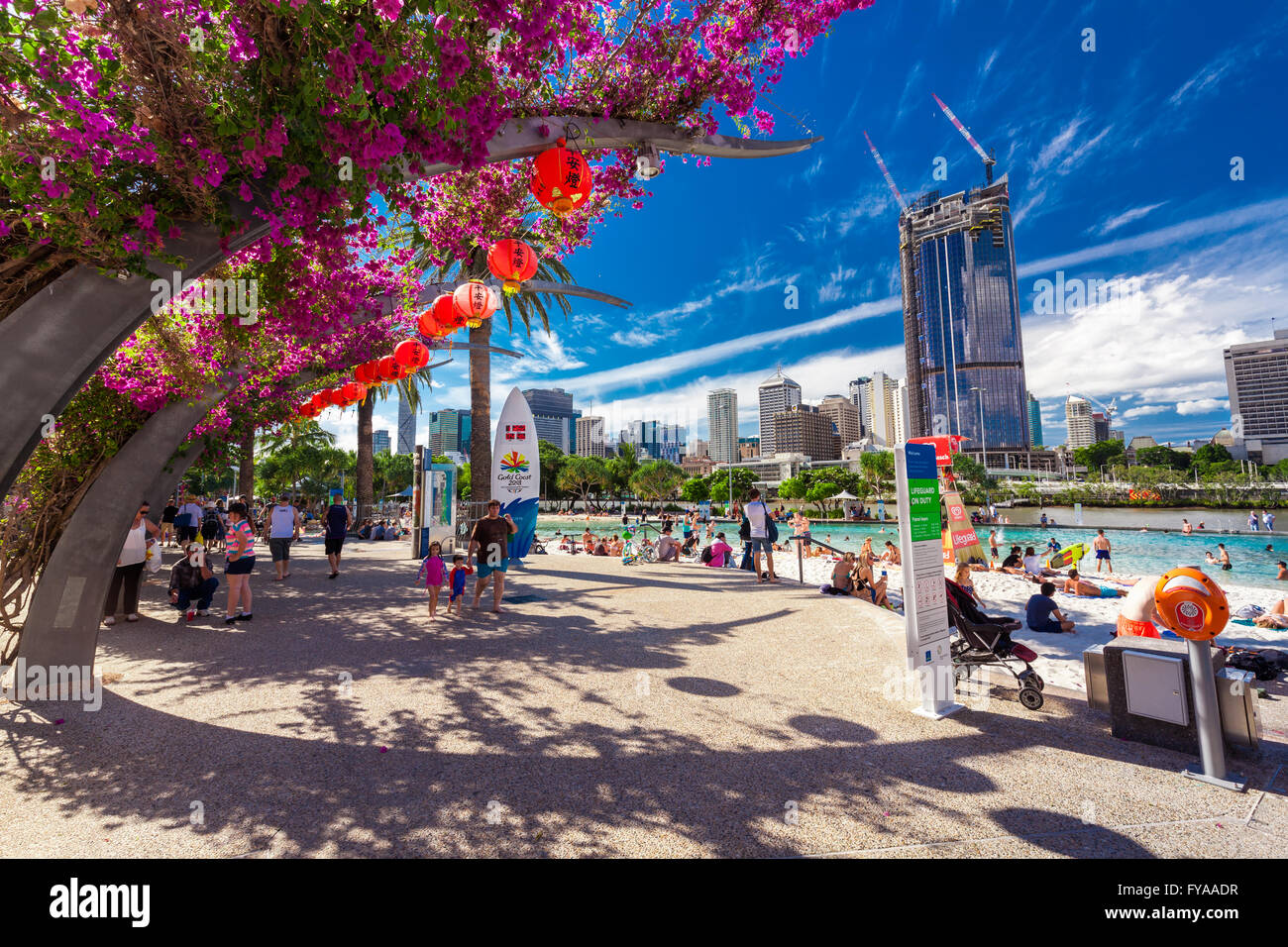 BRISBANE, AUS - APRIL 17 2016: Streets Beach in South Bank Parkland. It's inner-city man-made beach next to - Stock Image