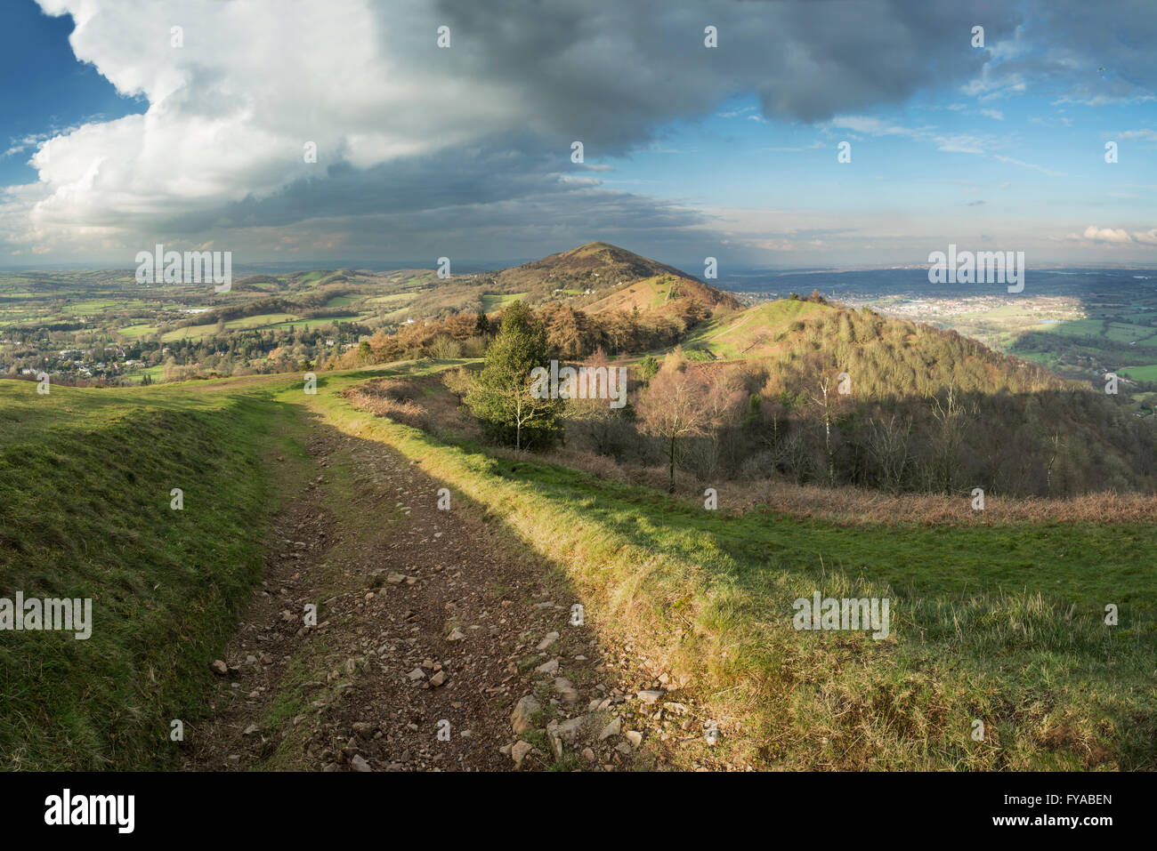 The footpath on Pinnacle hill leads through Jubillee Hill and Perseverance Hill after a heavy Winter rain storm Stock Photo